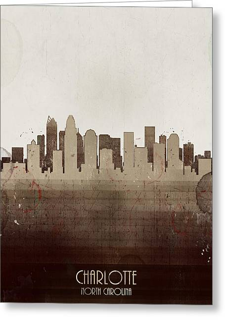Charlotte Posters Greeting Cards - Charlotte City Skyline Greeting Card by Bri Buckley