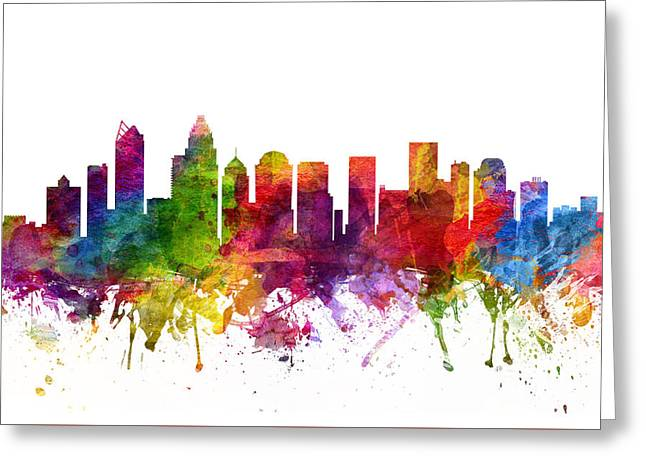 Charlotte Greeting Cards - Charlotte Cityscape 06 Greeting Card by Aged Pixel
