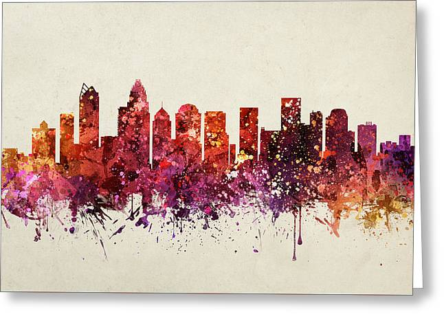 Charlotte Greeting Cards - Charlotte Cityscape 09 Greeting Card by Aged Pixel
