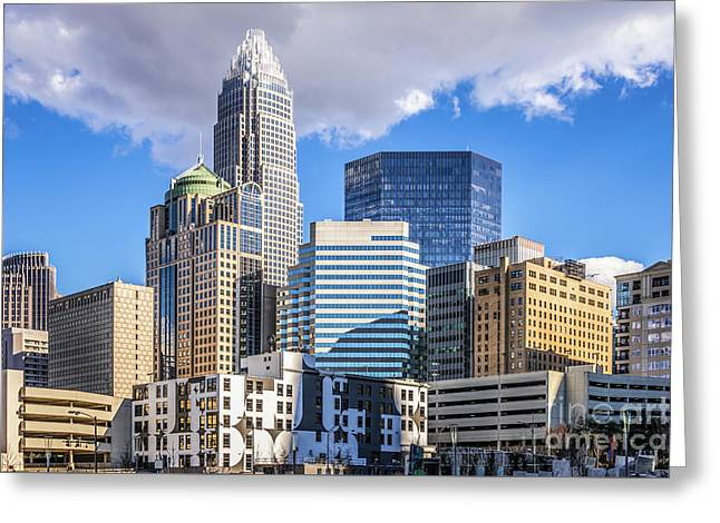Charlotte Downtown City Buildings Photo Greeting Card by Paul Velgos