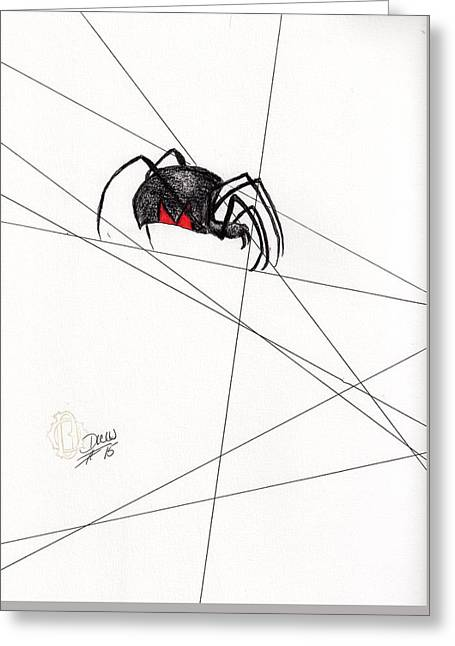 Black Widow Greeting Cards - Charlotte Greeting Card by Drew O