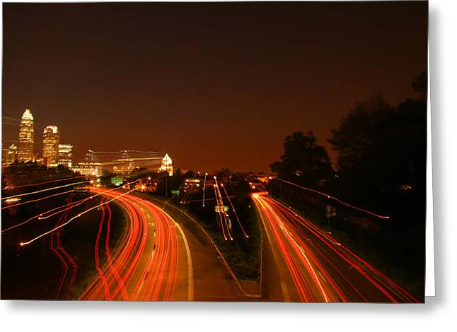 Charlotte Digital Art Greeting Cards - Charlotte Lights Greeting Card by Suzanne L Kish