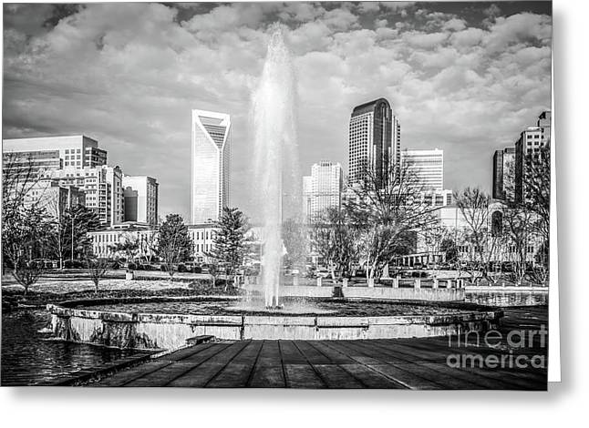 Charlotte Marshall Park Fountain Black And White Photo Greeting Card by Paul Velgos