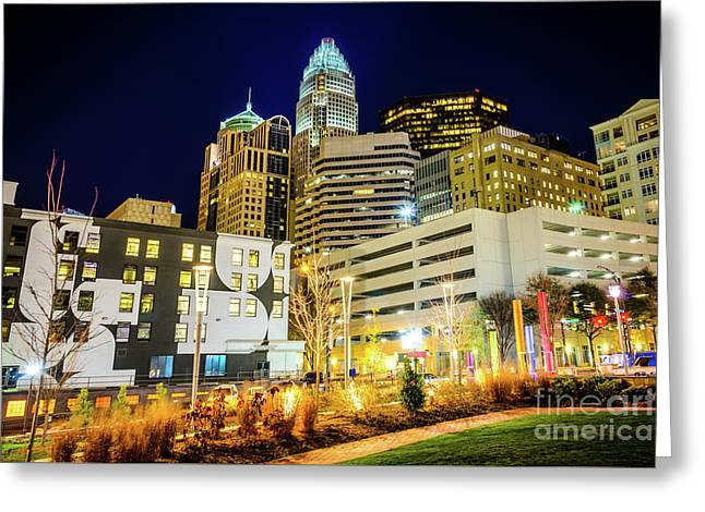 Charlotte Nc Downtown City At Night Photo Greeting Card by Paul Velgos