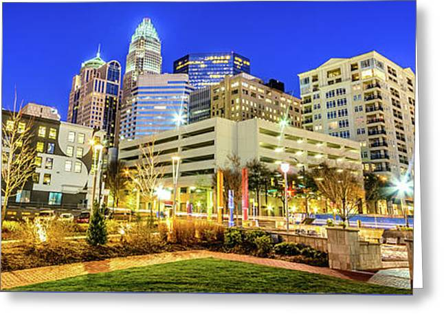 Charlotte North Carolina At Night Panorama Photo Greeting Card by Paul Velgos