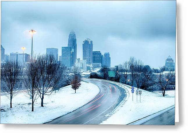 Roadway Greeting Cards - Charlotte North Carolina City After Snowstorm And Ice Rain Greeting Card by Alexandr Grichenko