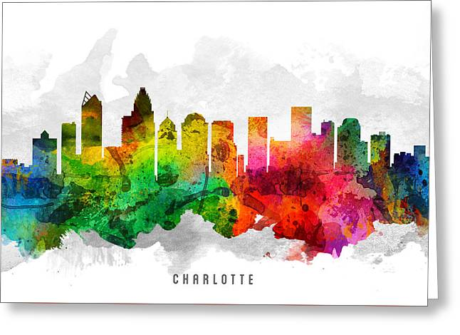 Charlotte Greeting Cards - Charlotte North Carolina Cityscape 12 Greeting Card by Aged Pixel