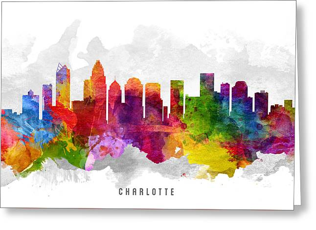 Charlotte Greeting Cards - Charlotte North Carolina Cityscape 13 Greeting Card by Aged Pixel