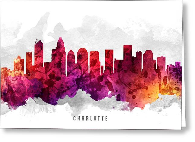 Charlotte Greeting Cards - Charlotte North Carolina Cityscape 14 Greeting Card by Aged Pixel