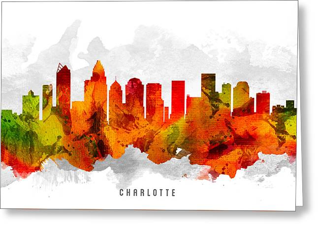 Charlotte Greeting Cards - Charlotte North Carolina Cityscape 15 Greeting Card by Aged Pixel