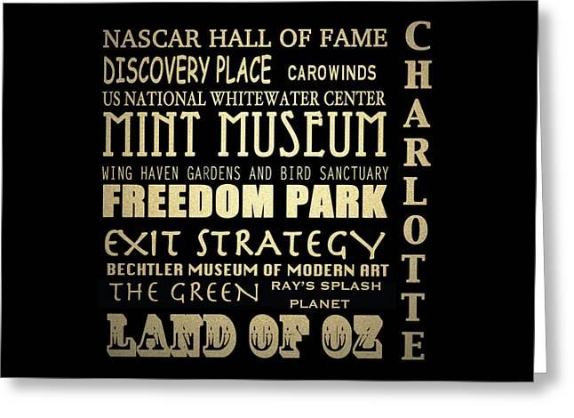 Charlotte North Carolina Famous Landmarks Greeting Card by Patricia Lintner
