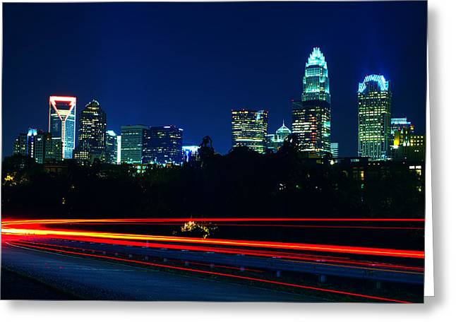 Charlotte Greeting Cards - Charlotte North Carolina Night Scene Greeting Card by Alexandr Grichenko