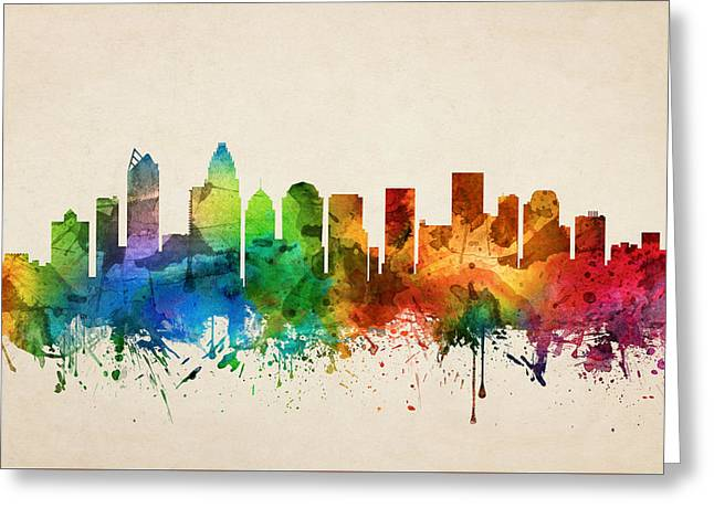 Charlotte Greeting Cards - Charlotte North Carolina Skyline 05 Greeting Card by Aged Pixel