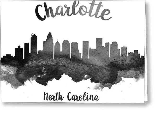 Charlotte Greeting Cards - Charlotte North Carolina Skyline 18 Greeting Card by Aged Pixel