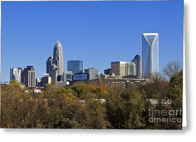 Uptown Rooftop Greeting Cards - Charlotte Skyline from Bryant Park Greeting Card by Jill Lang
