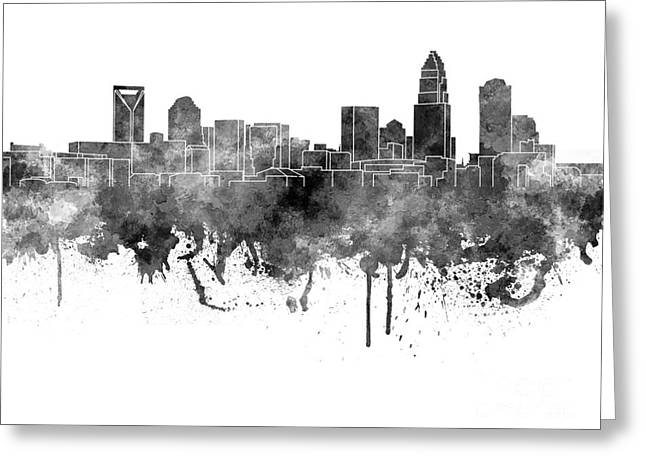 Charlotte Paintings Greeting Cards - Charlotte skyline in black watercolor on white background Greeting Card by Pablo Romero