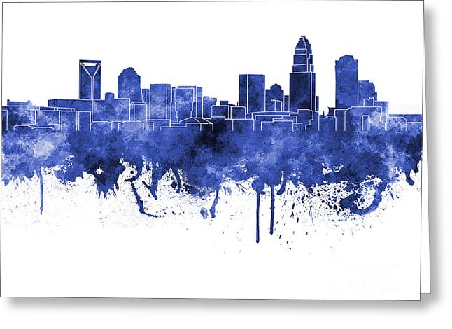 Charlotte Paintings Greeting Cards - Charlotte skyline in blue watercolor on white background Greeting Card by Pablo Romero