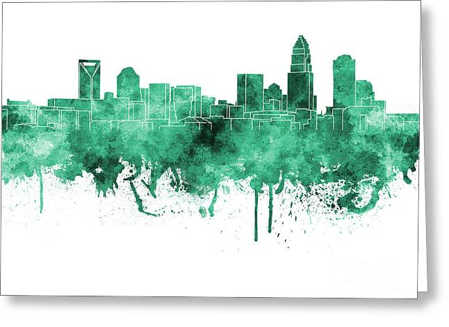 Charlotte Paintings Greeting Cards - Charlotte skyline in green watercolor on white background Greeting Card by Pablo Romero