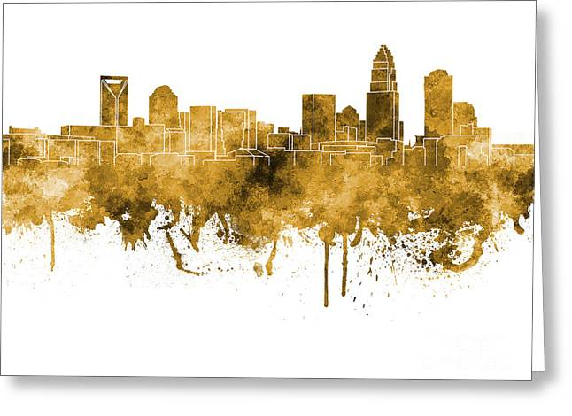 Charlotte Paintings Greeting Cards - Charlotte skyline in orange watercolor on white background Greeting Card by Pablo Romero