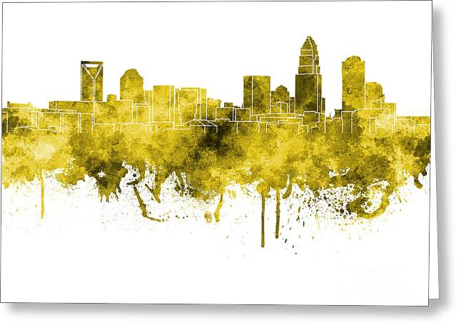 Charlotte Paintings Greeting Cards - Charlotte skyline in pink watercolor on white background Greeting Card by Pablo Romero