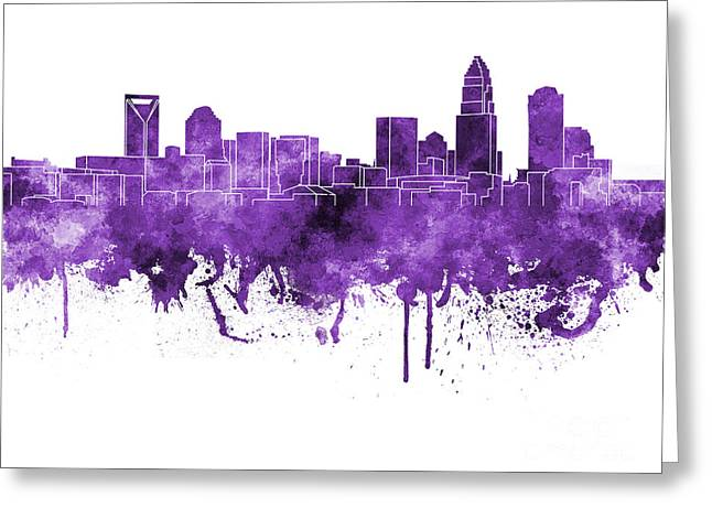 Charlotte Paintings Greeting Cards - Charlotte skyline in purple watercolor on white background Greeting Card by Pablo Romero
