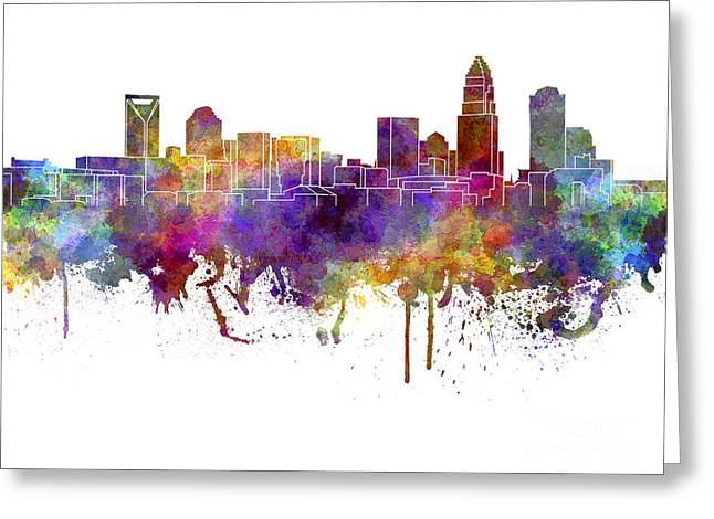 Charlotte Paintings Greeting Cards - Charlotte skyline in watercolor on white background Greeting Card by Pablo Romero