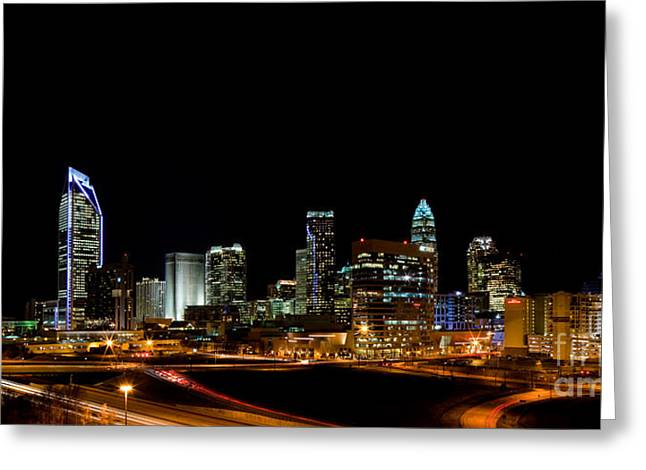 Downtown Charlotte Nc Greeting Cards - Charlotte Skyline panoramic Greeting Card by Patrick Schneider
