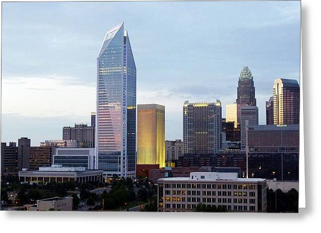 Downtown Charlotte Nc Greeting Cards - Charlotte Skyline Greeting Card by Tim Mattox
