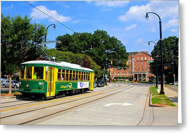 Charlotte Greeting Cards - Charlotte Streetcar Line 1 Greeting Card by Joseph C Hinson Photography