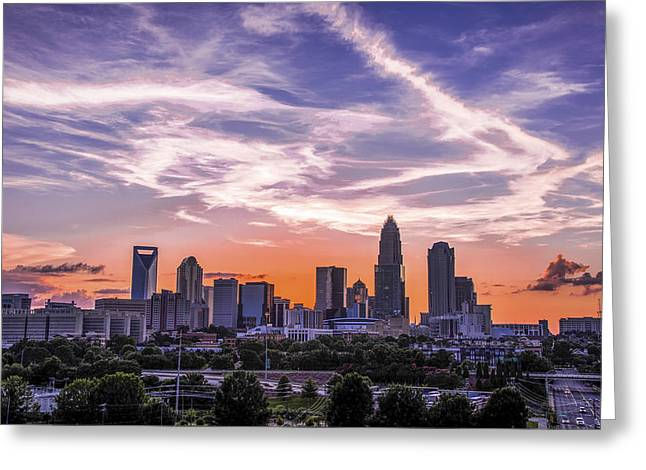Charlotte Greeting Cards - Charlotte Sunset Streaks Greeting Card by Paul Scolieri