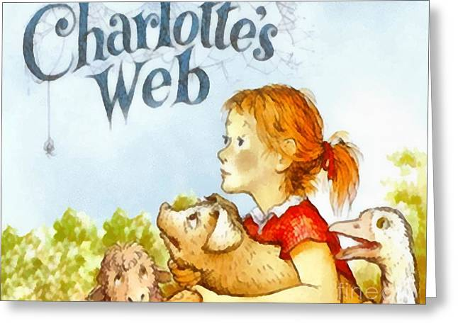 Book Cover Art Greeting Cards - Charlottes Web Greeting Card by Elizabeth Coats