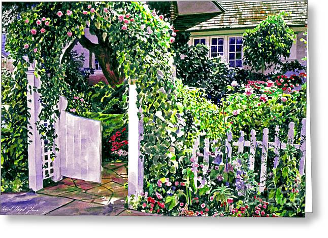 Trellis Greeting Cards - Charming Cottage Gate Greeting Card by David Lloyd Glover