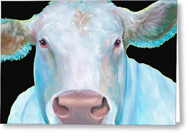 Charolais Cow Painting On Black Background Greeting Card by Jan Matson