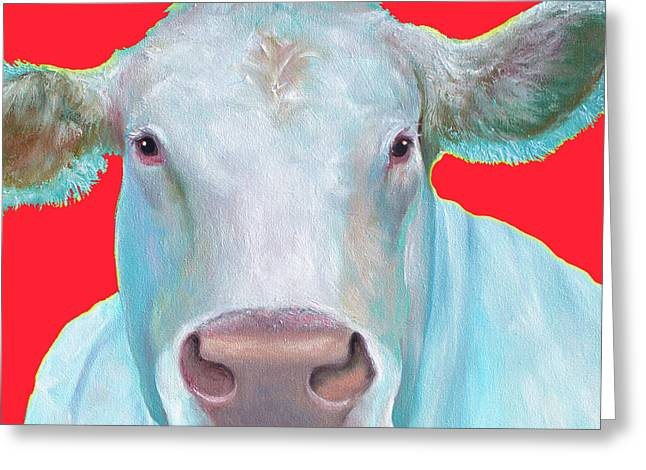 Charolais Cow Painting On Red Background Greeting Card by Jan Matson