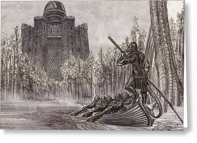 Charon Conveys The Party To Fate Black And White Greeting Card by Chad Glass