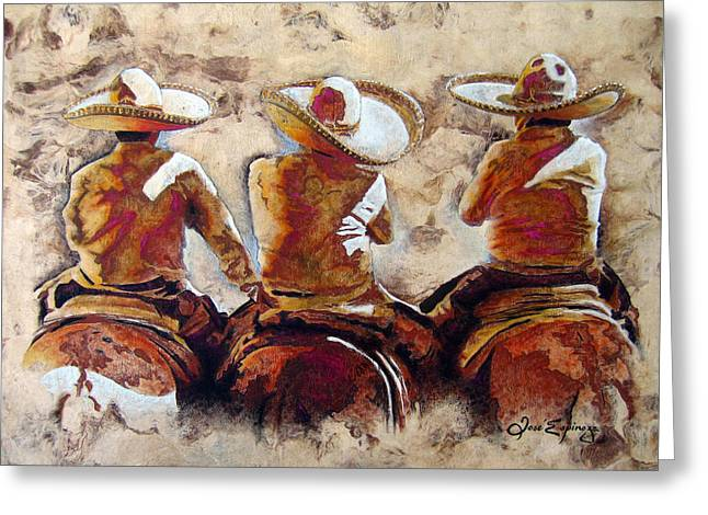 Golds Greeting Cards - Charros Greeting Card by Jose Espinoza