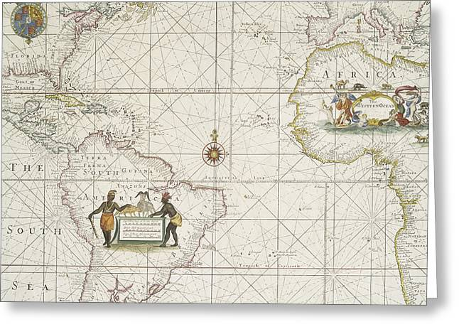 North Sea Drawings Greeting Cards - Chart of the Atlantic Ocean Greeting Card by English School