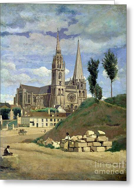 Craftsman Greeting Cards - Chartres Cathedral Greeting Card by Jean Baptiste Camille Corot