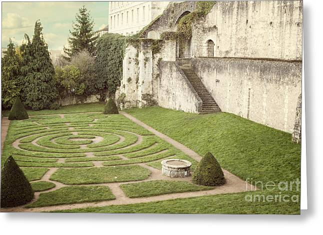 Chartres Labyrinth Garden Greeting Card by Juli Scalzi