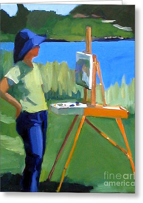 Charyl Painting At Pope John Paul II Park Greeting Card by Deb Putnam