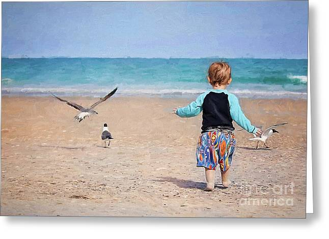 Chasing Birds On The Beach Greeting Card by Sharon McConnell