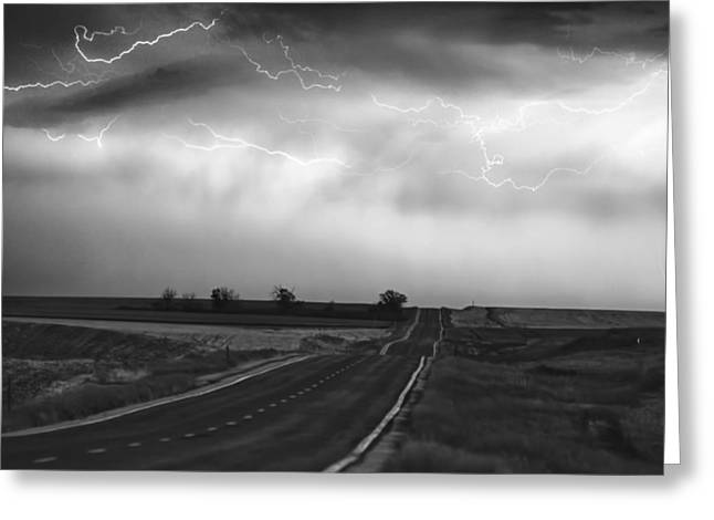 Lightning Strike Greeting Cards - Chasing The Storm - County Rd 95 and Highway 52 - Colorado Greeting Card by James BO  Insogna