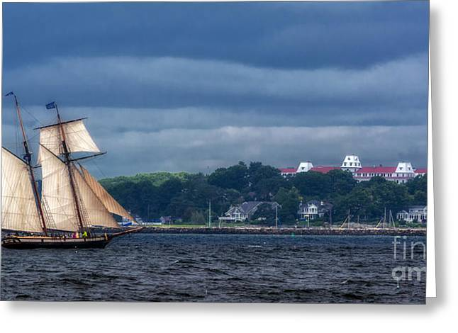 Tall Ship Greeting Cards - Chasing The Storm Greeting Card by Scott Thorp