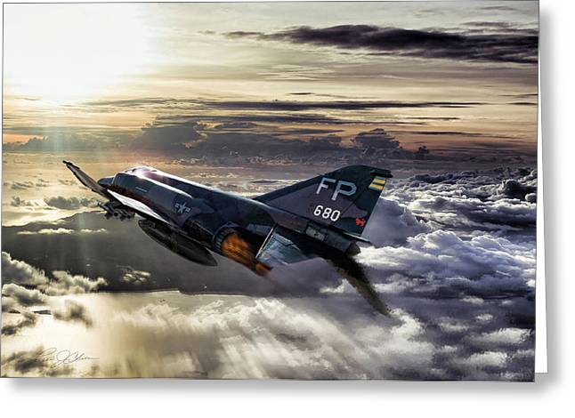 Phantom Greeting Cards - Chasing The Sun Robin Olds Greeting Card by Peter Chilelli