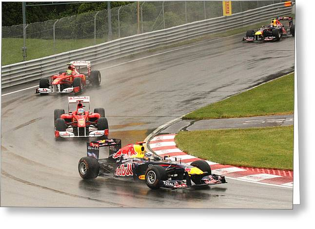 Canadian Grand Prix Greeting Cards - Chasing Vettel Greeting Card by Art Ferrier