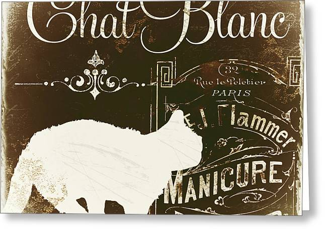 Cat Prints Greeting Cards - Chat Blanc Greeting Card by Mindy Sommers