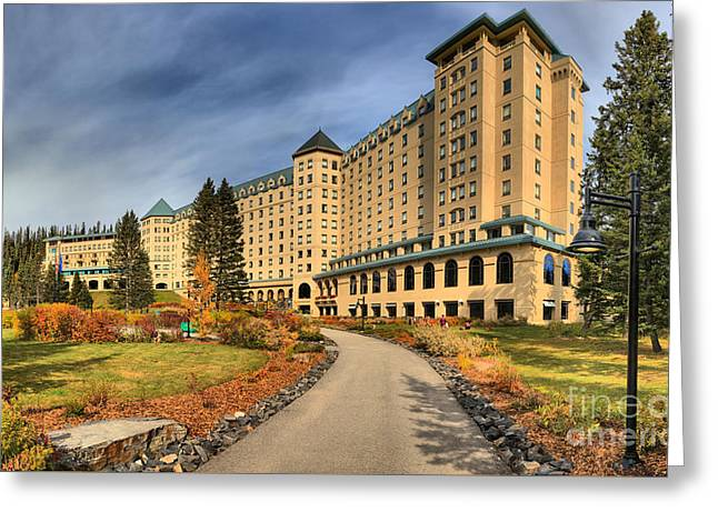 Chateau Greeting Cards - Chateau Lake Louise Panorama Greeting Card by Adam Jewell