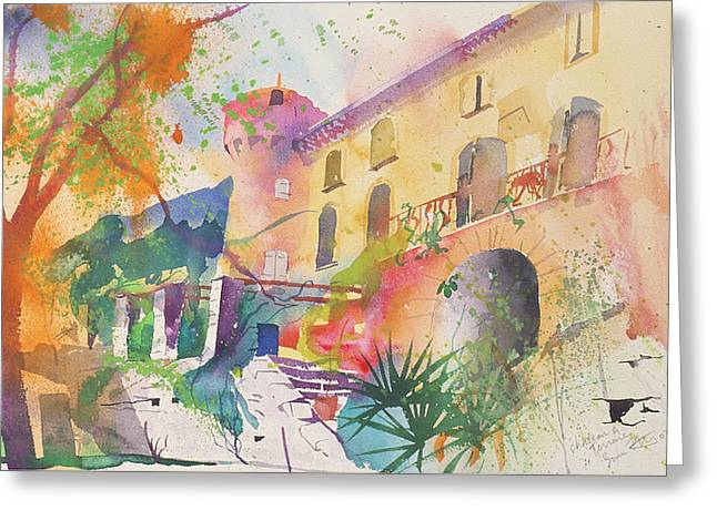 Chateau Greeting Cards - Chateau and Terrace Greeting Card by Simon Fletcher