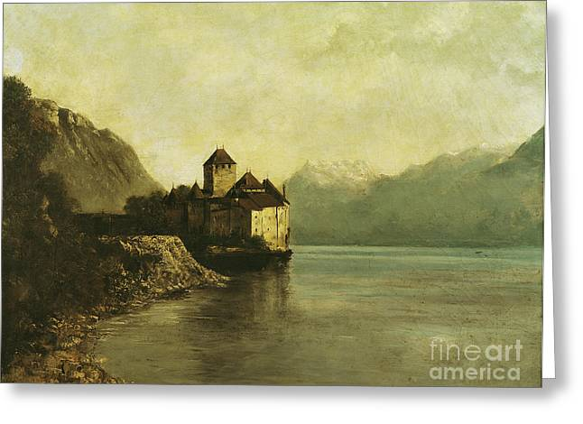 Calm Paintings Greeting Cards - Chateau de Chillon Greeting Card by Gustave Courbet