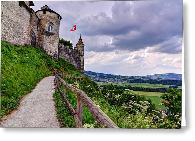 Chateau Greeting Cards - Chateau de Gruyeres Greeting Card by Mark Ruanto